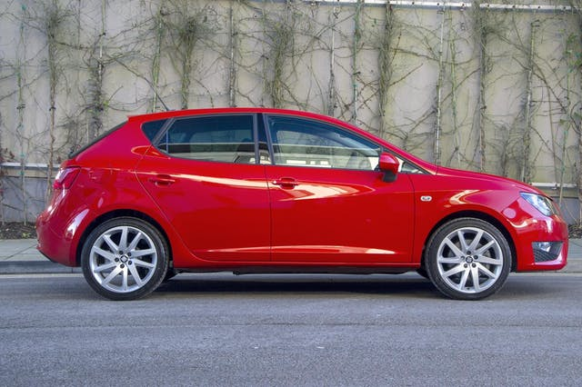 The exterior of a red Seat Ibiza