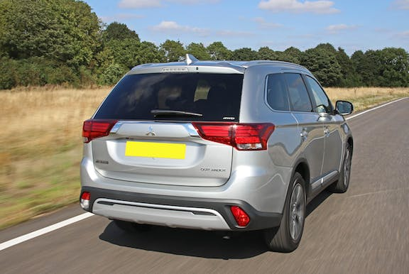 The exterior of a silver Mitsubishi Outlander