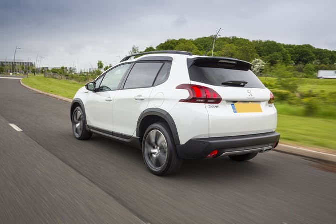 The rear exterior of a white Peugeot 2008