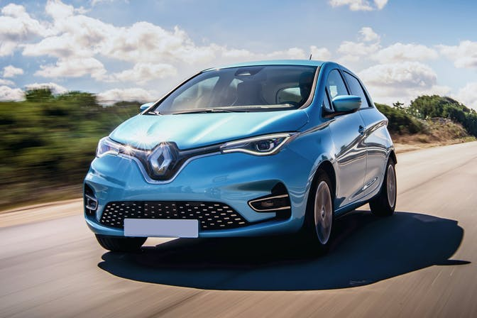 The exterior of a blue Renault Zoe