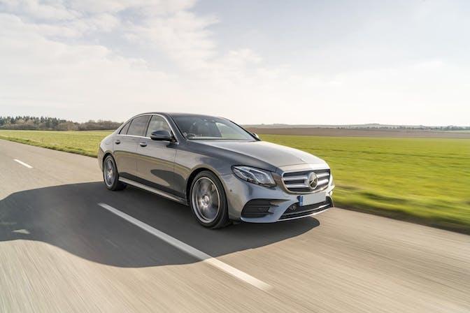 The exterior of a silver Mercedes E-Class