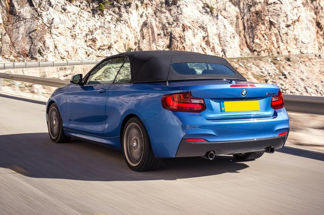 The exterior of a blue BMW 2 Series