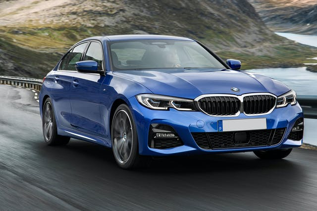 The exterior of a blue BMW 3-Series