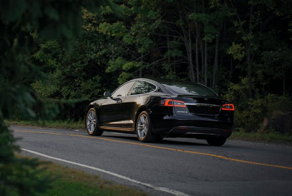 An electric car on the road