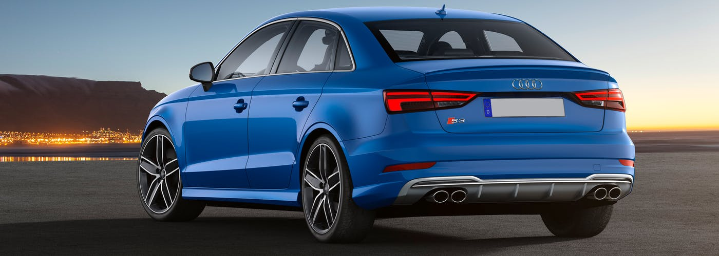 The rear exterior of a blue Audi S3