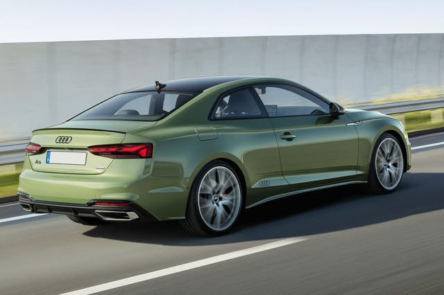 The rear exterior of a green Audi A5