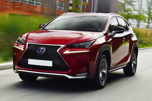 The front exterior of a red Lexus NX