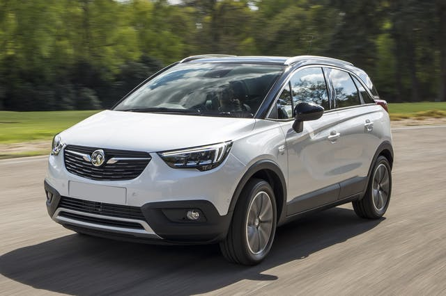 The front exterior of a white Vauxhall Crossland X