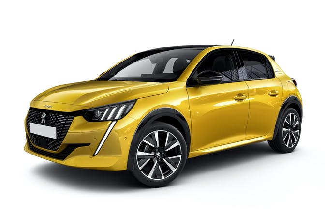 The exterior of a yellow Peugeot 208