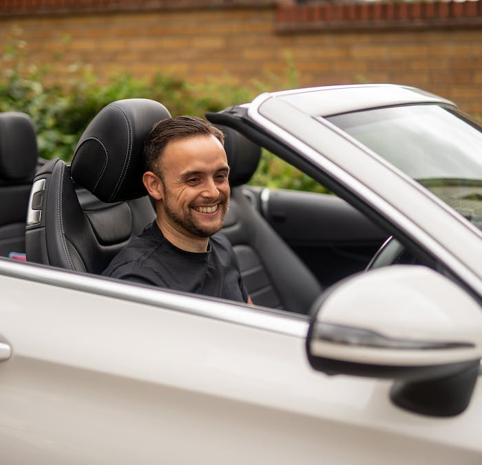 Cazoo Customer Luke  form Essex in his Mercedes-Benz C-Class Cabriolet