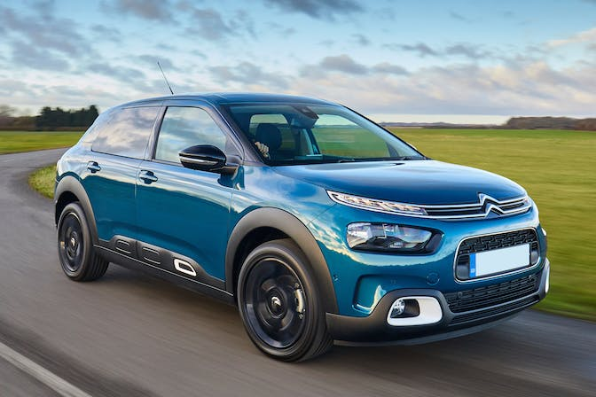 The exterior of a blue Citroen C4-Cactus