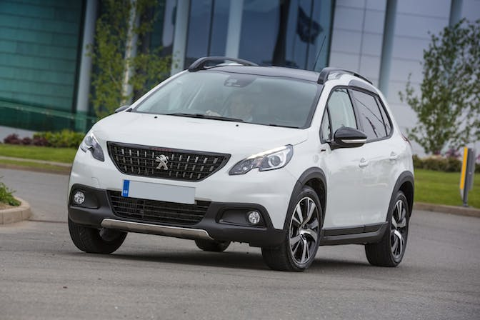 The exterior of a white Peugeot 2008
