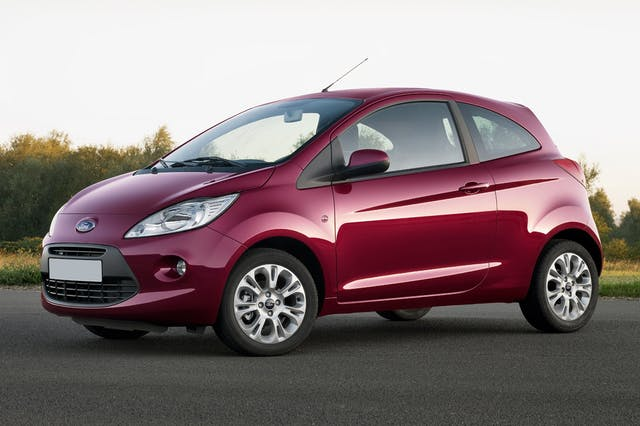 The front exterior of a red Ford Ka