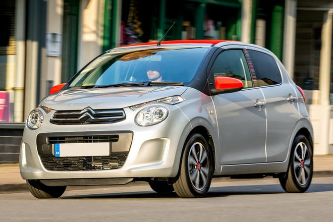 The front exterior of a silver Citroen C1