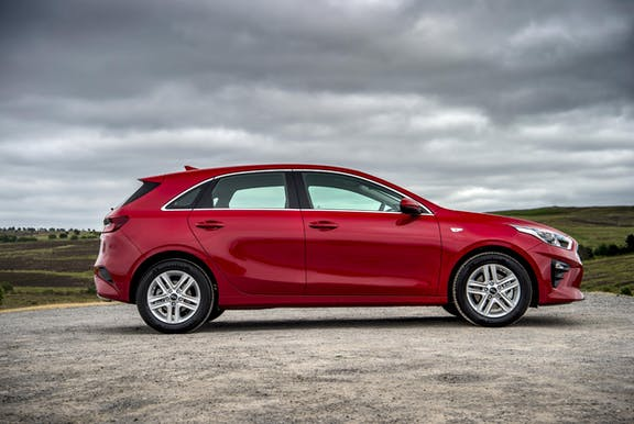 The exterior of a red Kia Ceed