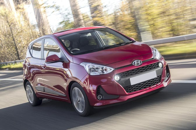 The exterior of the red Hyundai i10