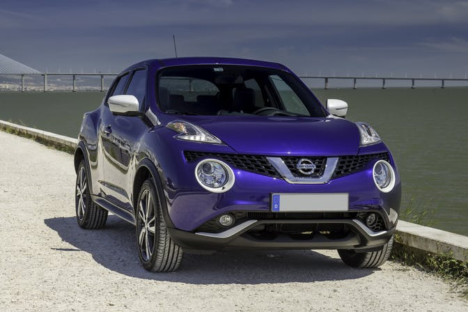 The exterior of a blue Nissan Juke