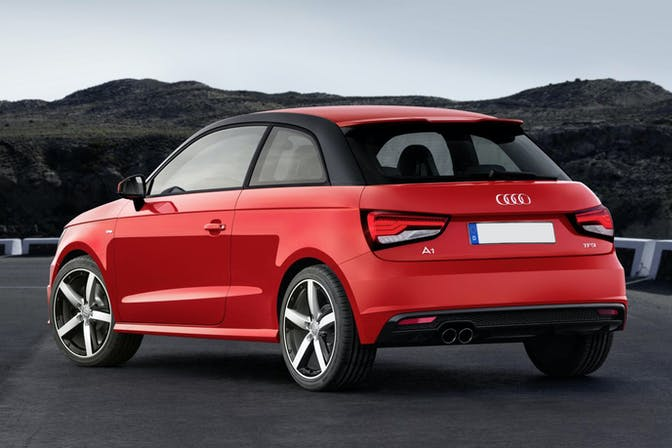 The rear exterior of a red Audi A1