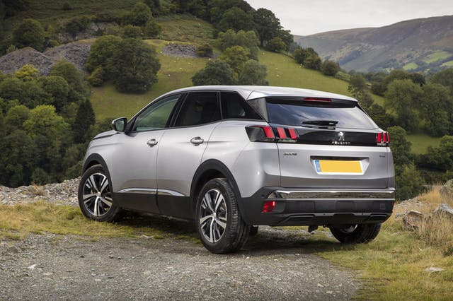 The exterior of a silver Peugeot 3008