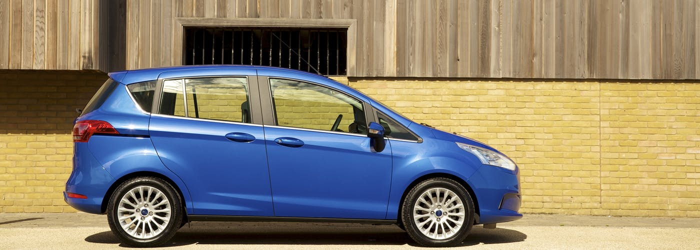 The side exterior of a blue Ford B-Max