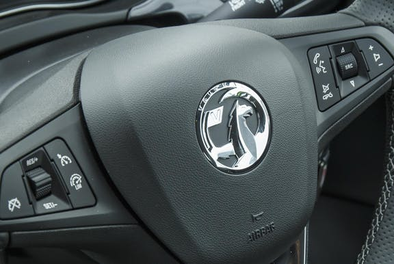 Steering wheel shot of the Vauxhall Corsa