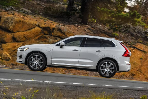 The exterior of a white Volvo XC60