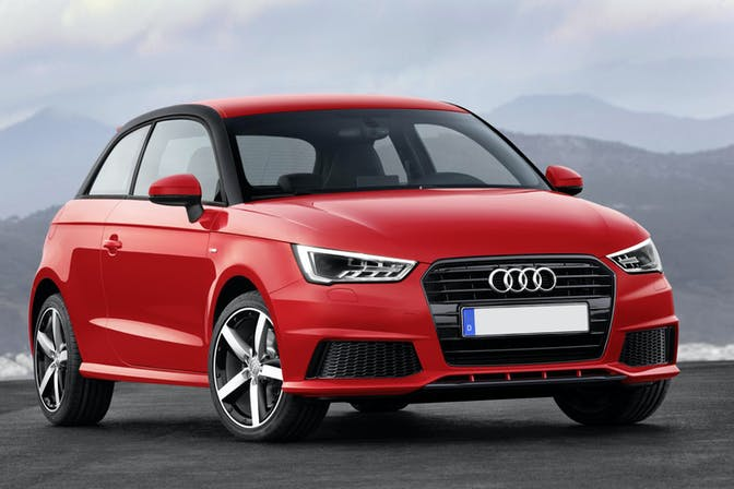 The exterior of a red Audi A1