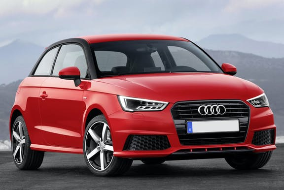 The front exterior of a red Audi A1
