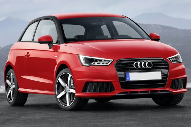 Exterior shot of a red Audi A1