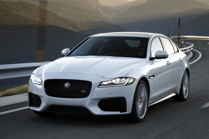The exterior of a white Jaguar XF