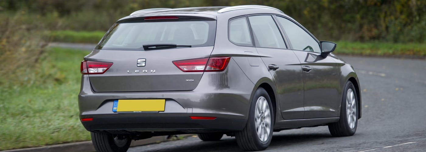 The rear exterior of a silver Seat Leon