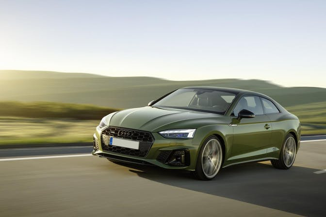 The exterior of a green Audi A5