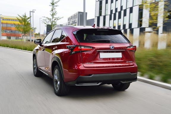 The rear exterior of a red Lexus NX