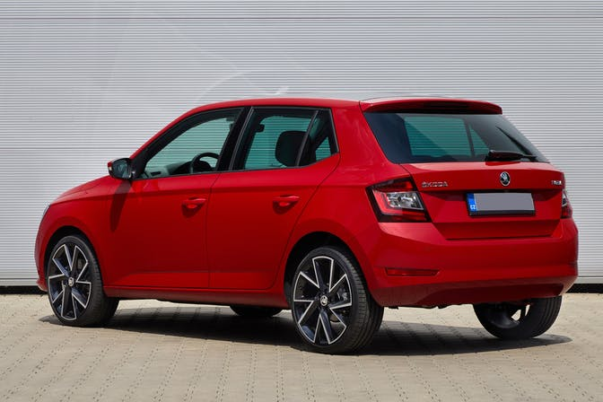 The exterior of a red Skoda Fabia