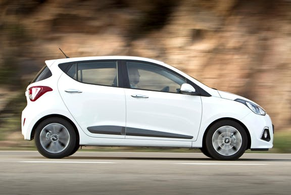 The exterior of a white Hyundai i10