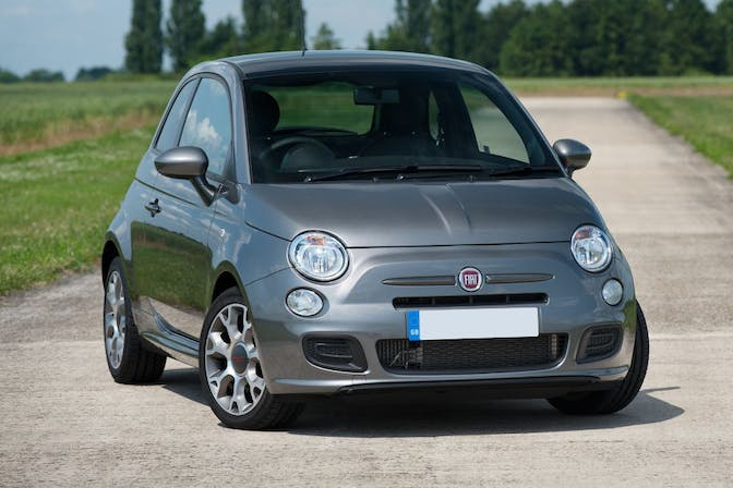 The exterior of a grey Fiat 500