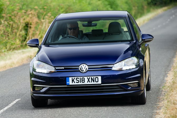 The exterior of a blue Volkswagen Golf