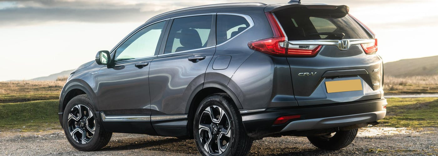 The rear exterior of a silver Honda CR-V