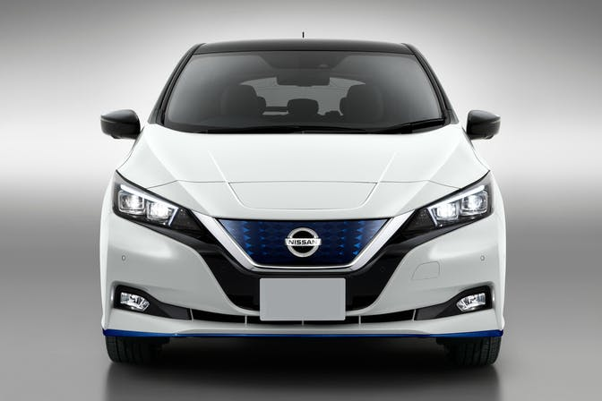 The exterior of a white Nissan Leaf