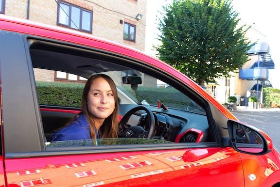 Cazoo customer May in her new car
