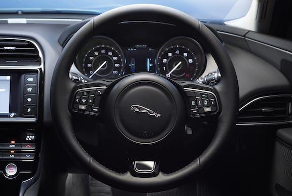 Steering wheel shot of the Jaguar XE