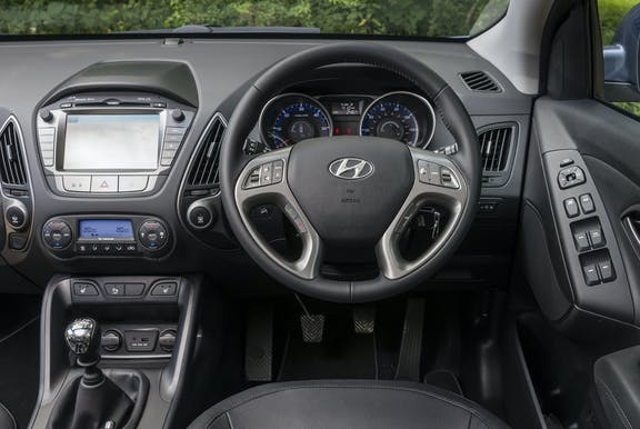 Steering wheel shot of the Hyundai ix35