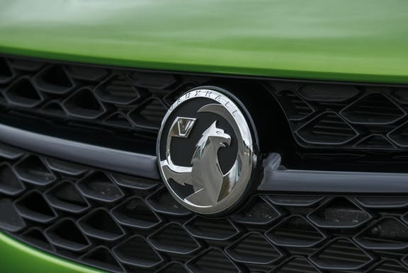 Badge shot of the Vauxhall Corsa