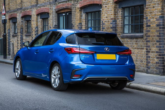 The rear exterior of a blue Lexus CT