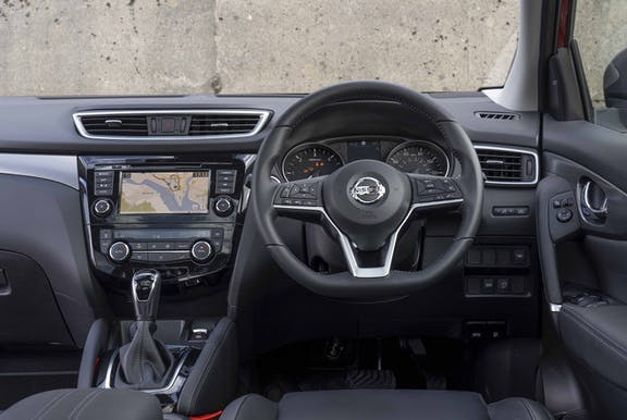 Steering wheel shot of the Nissan Qashqai