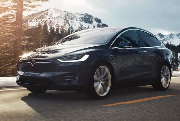 The front exterior of a Tesla Model X