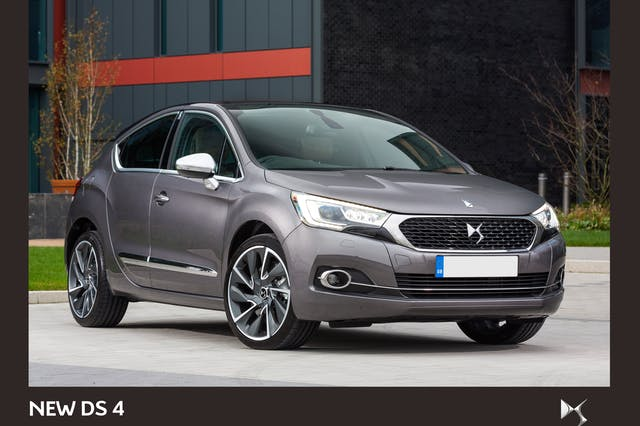 The front exterior of a grey Citroen DS4