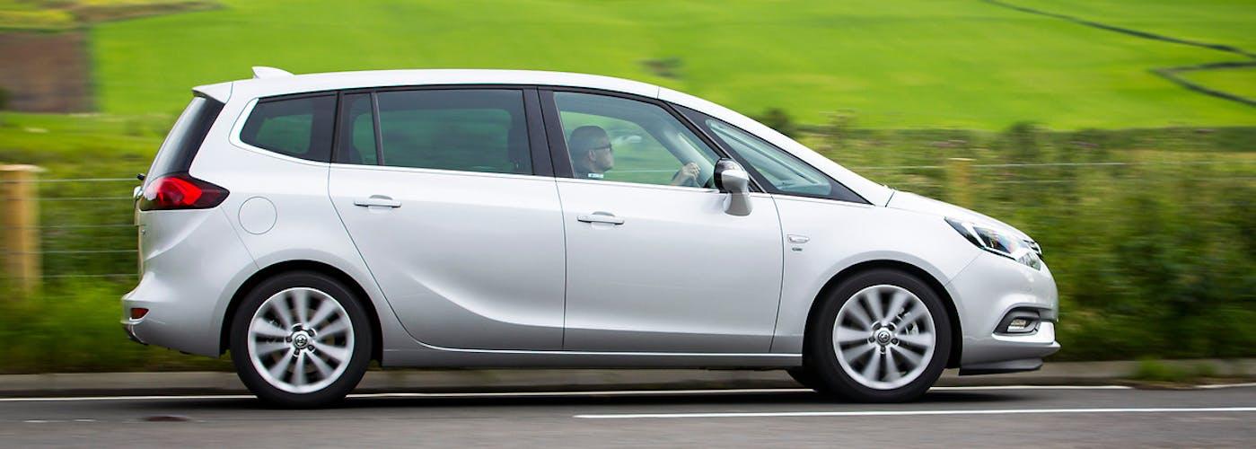 The exterior of a silver Vauxhall Zafira Tourer