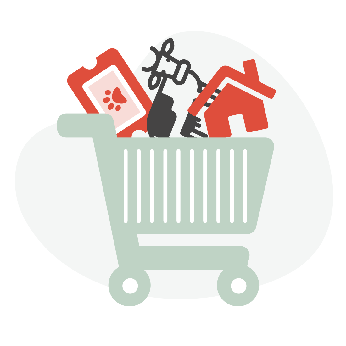 Shopping cart full of icons representing the UK's online shopping habits