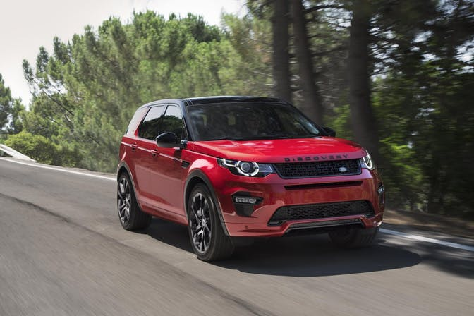 The exterior of a red Land Rover Discovery Sport